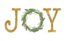 Joy. Christmas Card With Golde...