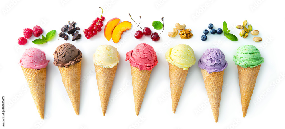 Leinwandbild Motiv - Alexander Raths : Various varieties of ice cream in cones isolated on white background