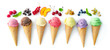 Leinwandbild Motiv Various varieties of ice cream in cones isolated on white background