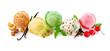 Leinwandbild Motiv Various ice cream balls isolated on white background