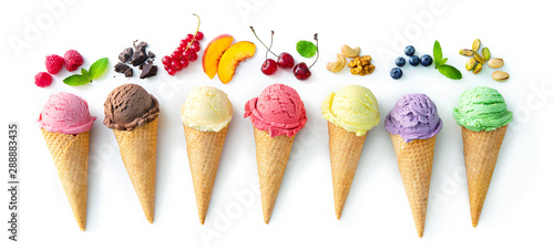 Fotografie, Tablou Various varieties of ice cream in cones isolated on white background