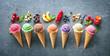 Leinwandbild Motiv Various varieties of ice cream in cones