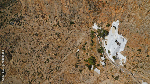 Aerial drone photo of breathtaking whitewashed holy Monastery of Panagia Hozovio Wallpaper Mural