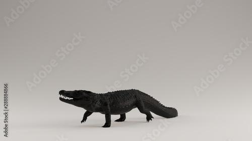 Black Crocodile 3 Quarter Left View 3d Illustration 3d render Wallpaper Mural