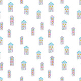 Fototapeta Dinusie - Pattern of bright houses for a childish design, watercolor, sketch style