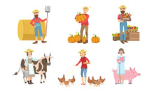People Working On Farm And Garden Set, Male And Female Farmers Characters Harvesting, Feeding Animals Vector Illustration