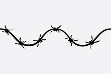 The Logo Of The Barbed Wire. Black And White Drawing. Vector Illustration Of A Barbed Wire. The Holocaust. Console Camp.