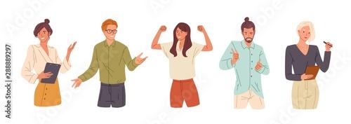 Fotografia Confident people flat vector illustrations set