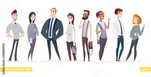 Collection of charming young entrepreneurs or businessmen and managers. Business people standing togever. Flat modern cartoon style - 288889414