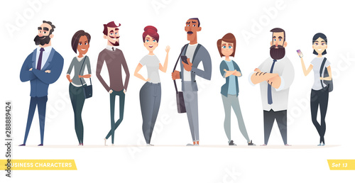 Collection of charming young entrepreneurs or businessmen and managers. Business people standing togever. Flat modern cartoon style - 288889424