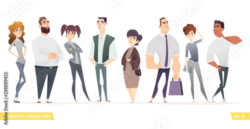 Fototapety, obrazy: Collection of charming young entrepreneurs or businessmen and managers. Business people standing togever. Flat modern cartoon style