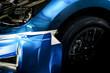 Wrapping car deteling film blue .Metallic color vinyl protection damage when driving, Automobile transportation service