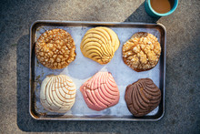 Multicolored Conchas On Sheet ...