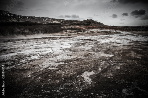 Beautiful dramatic multicolored spring landscape of Iceland. Toned