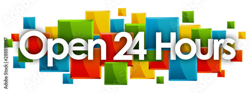 Open 24 Hours word in colored rectangles background Fototapet