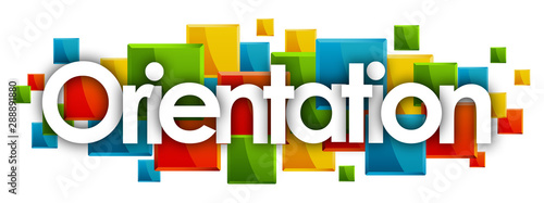 Orientation word in colored rectangles background