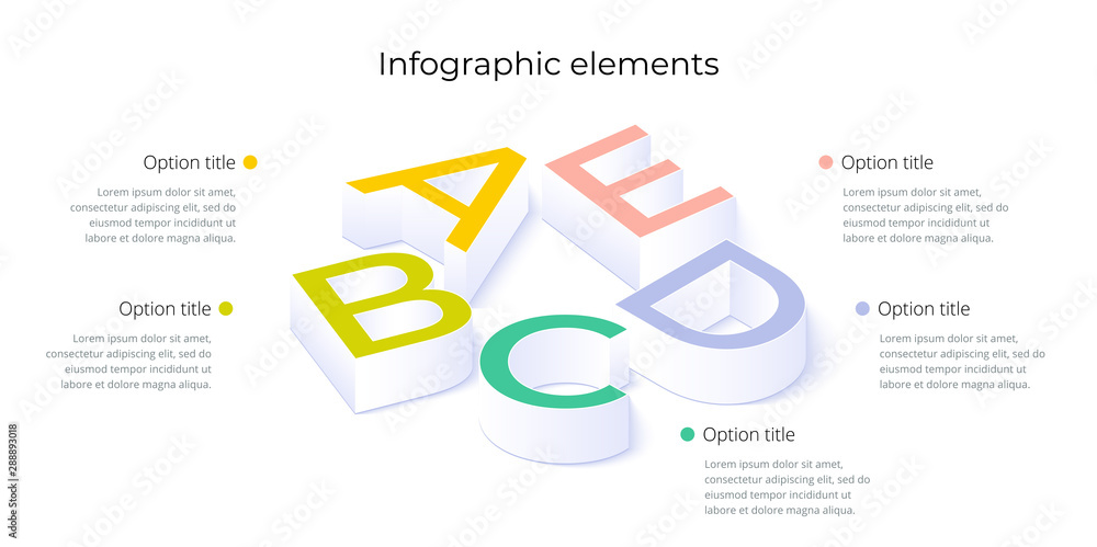 Fototapety, obrazy: Business process chart infographics with 5 step options. Square corporate workflow graphic elements. Company flowchart presentation slide template. Vector info graphic design.