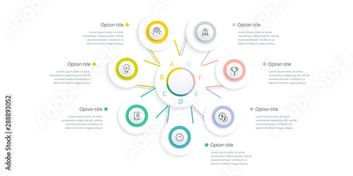 Fototapeta  Business process chart infographics with 7 step options