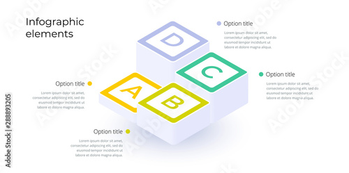 Fotografie, Obraz  Business process chart infographics with 4 step options