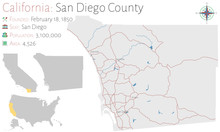 Large And Detailed Map Of San Diego County In California, USA