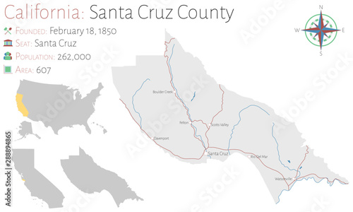 Photo Large and detailed map of Santa Cruz county in California, USA