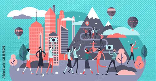 Fototapeta Overtourism vector illustration. Tiny tourist crowd problem persons concept obraz