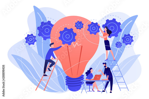 La pose en embrasure Echelle de hauteur Business team putting gears on big lightbulb. New idea engineering, business model innovation and design thinking concept on white background. Living coral blue vector isolated illustration