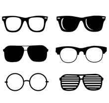 Hand Drawn Black Sunglasses Vector Illustration Set. Hipster Style Element Design Concept