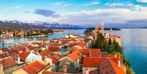 Old town Rab over sunset. Travel in Croatia, Rab island