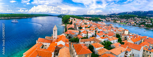 Beautiful Island Rab in Croatia. Townscape panorama from belltower.