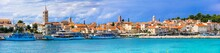 Beautifl Islands Of Croatia - Rab. Panoramic View Of Old Town And Marine