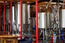 Beer Distillery Vats At Brewery Georgia, USA