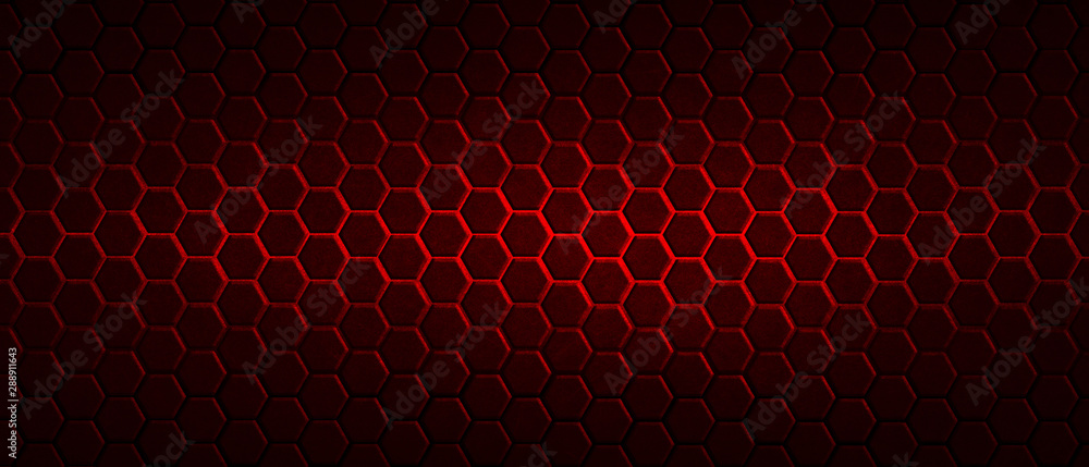 Fototapety, obrazy: dark red hexagon background and red light