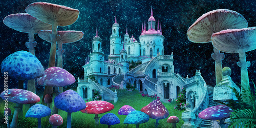 Fototapeta fantastic wonderland landscape with mushrooms, beautiful old castle and moon