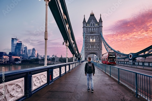 Foto op Canvas Londen rode bus London at colorful sunrise