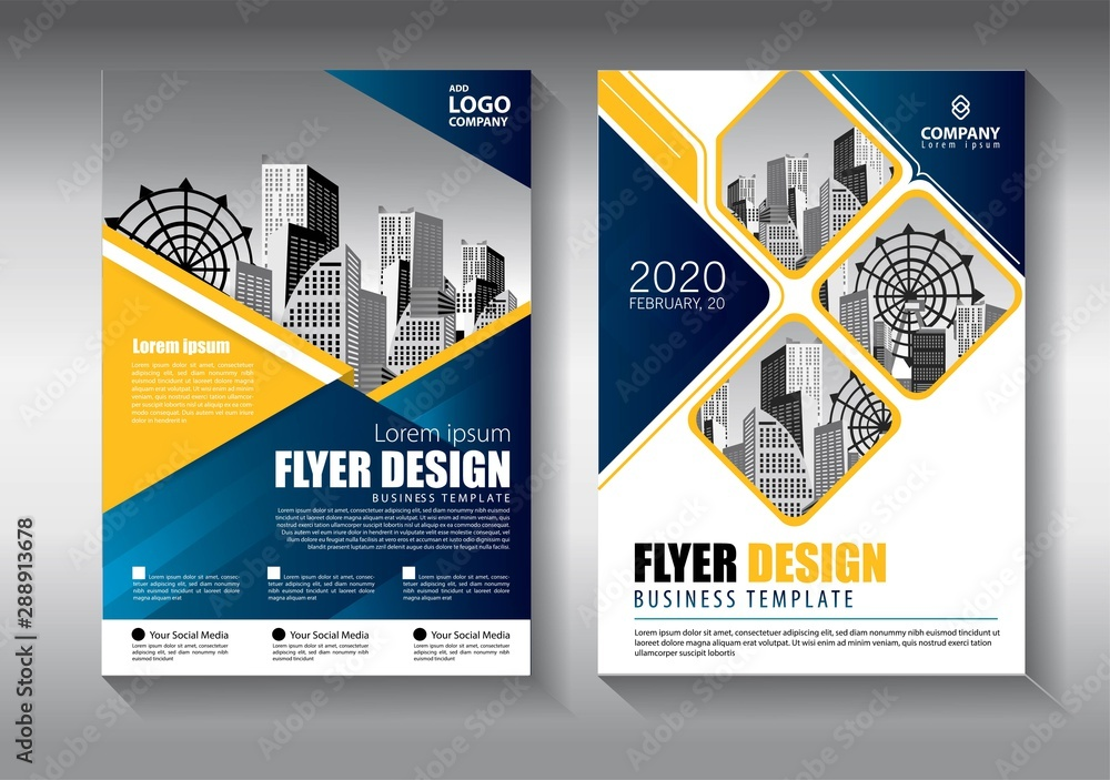 Fototapeta Brochure design, cover modern layout, annual report, poster, flyer in A4 with colorful triangles, geometric shapes for tech, science, market with light background