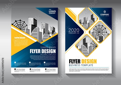 Fototapeta Brochure design, cover modern layout, annual report, poster, flyer in A4 with colorful triangles, geometric shapes for tech, science, market with light background obraz