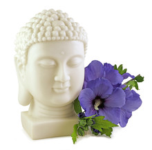 Buddha And Blue Hibiscus - Buddha Statue Head And Blue Hibiscus Flower Isolated On White Background
