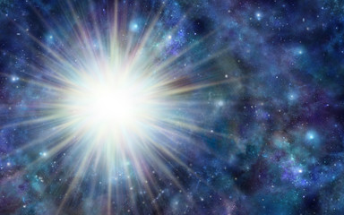 Huge Deep Space Energy Orb - dark blue outer space background with a massive blast of white light on left side and plenty of copy space