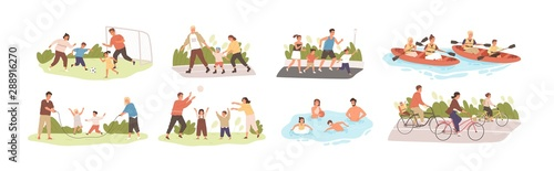 Fotografía Family activities flat vector illustrations set