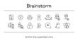 Brain work line icon set