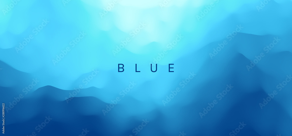 Fototapety, obrazy: Blue abstract background. Realistic landscape with waves. Cover design template. 3d vector illustration.