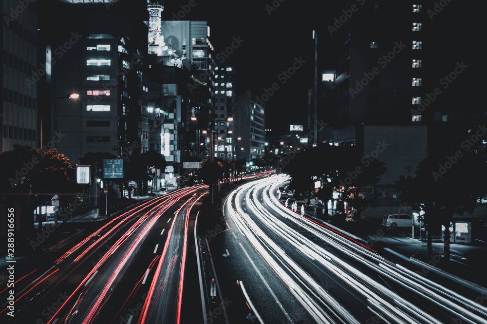 Fototapeta urban Road in Naha, Okinawa, by night