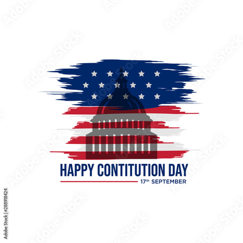American constitution day badge vector logo icon isolated on white background Canvas Print