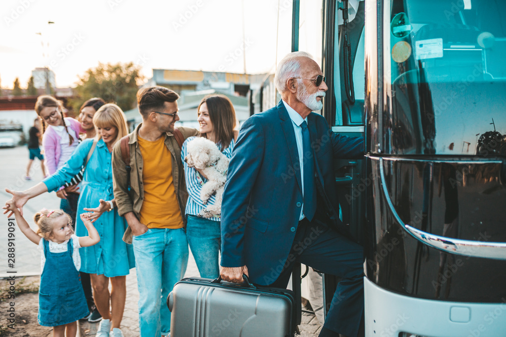 Fototapety, obrazy: Group people boarding on travel bus.  Traveling, tourism and vacation concept.