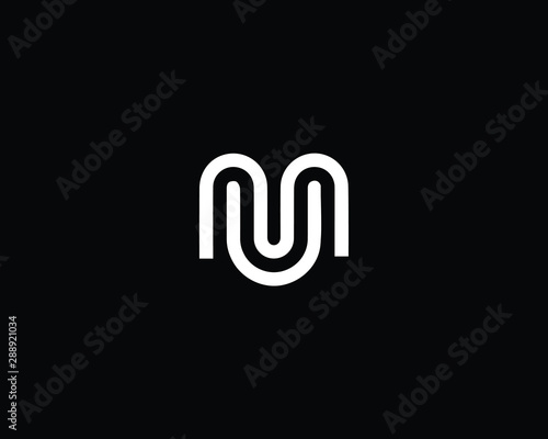 Creative and Minimalist Letter MU UM Logo Design Icon, Editable in Vector Format Wallpaper Mural