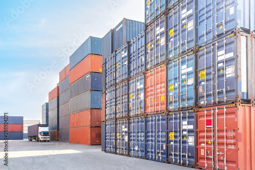 Stampa su Tela container cargo freight ship for import and export in shipyard
