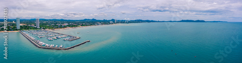 Photo Stands Green blue Aerial panorama view of Harbor ocean marina yachts club in Pattaya city of Thailand