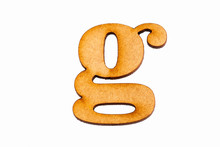 Lowercase Letter G In Wood - White Background