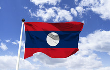 Flag Laos, 3 Horizontal Bands,...